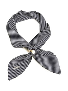 Pinstriped Twilly Scarf With Faux Pearl