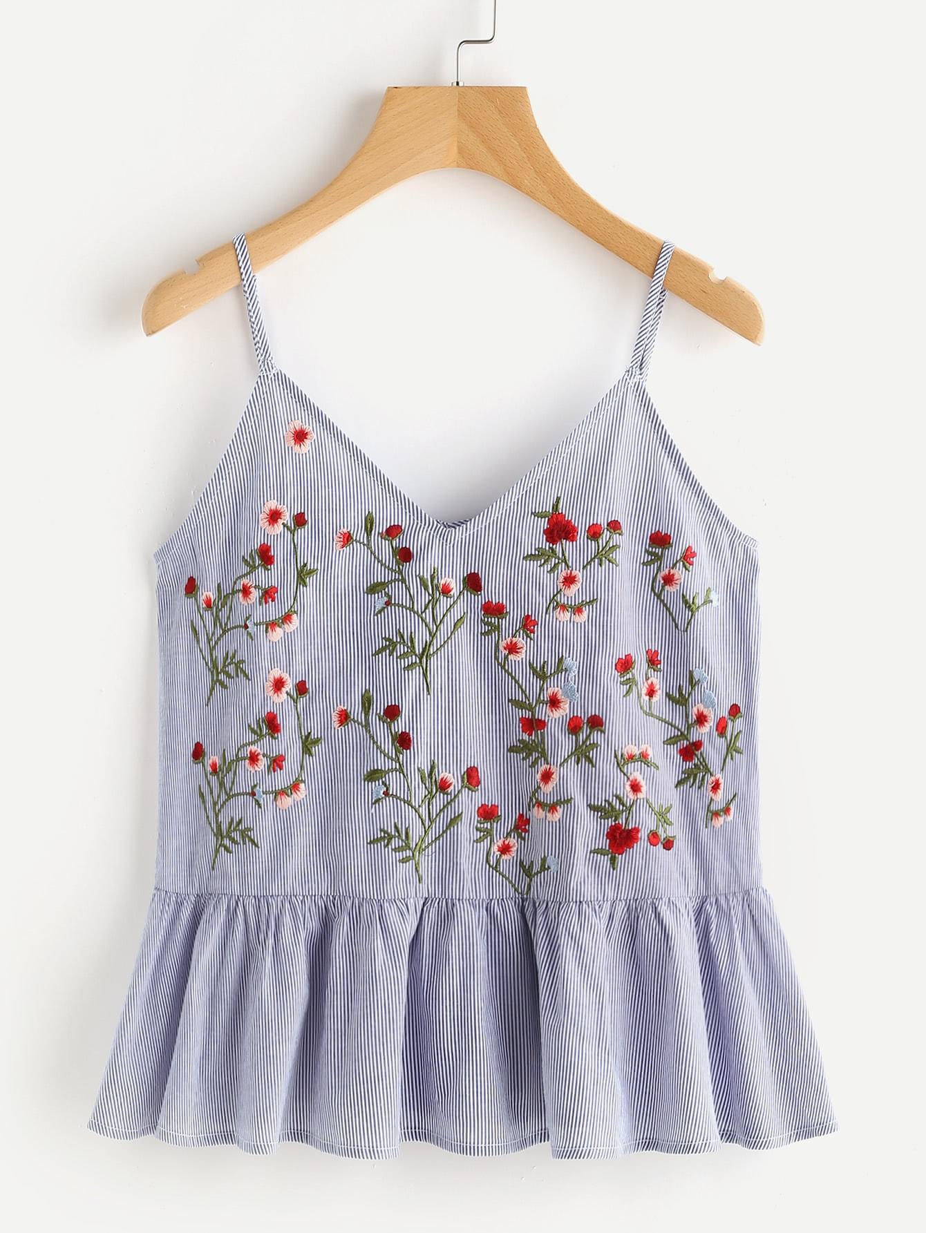Купить Модный голубой топ в полоску с вышивкой, null, SheIn