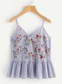 Blossom Embroidered Ruffle Cami Top