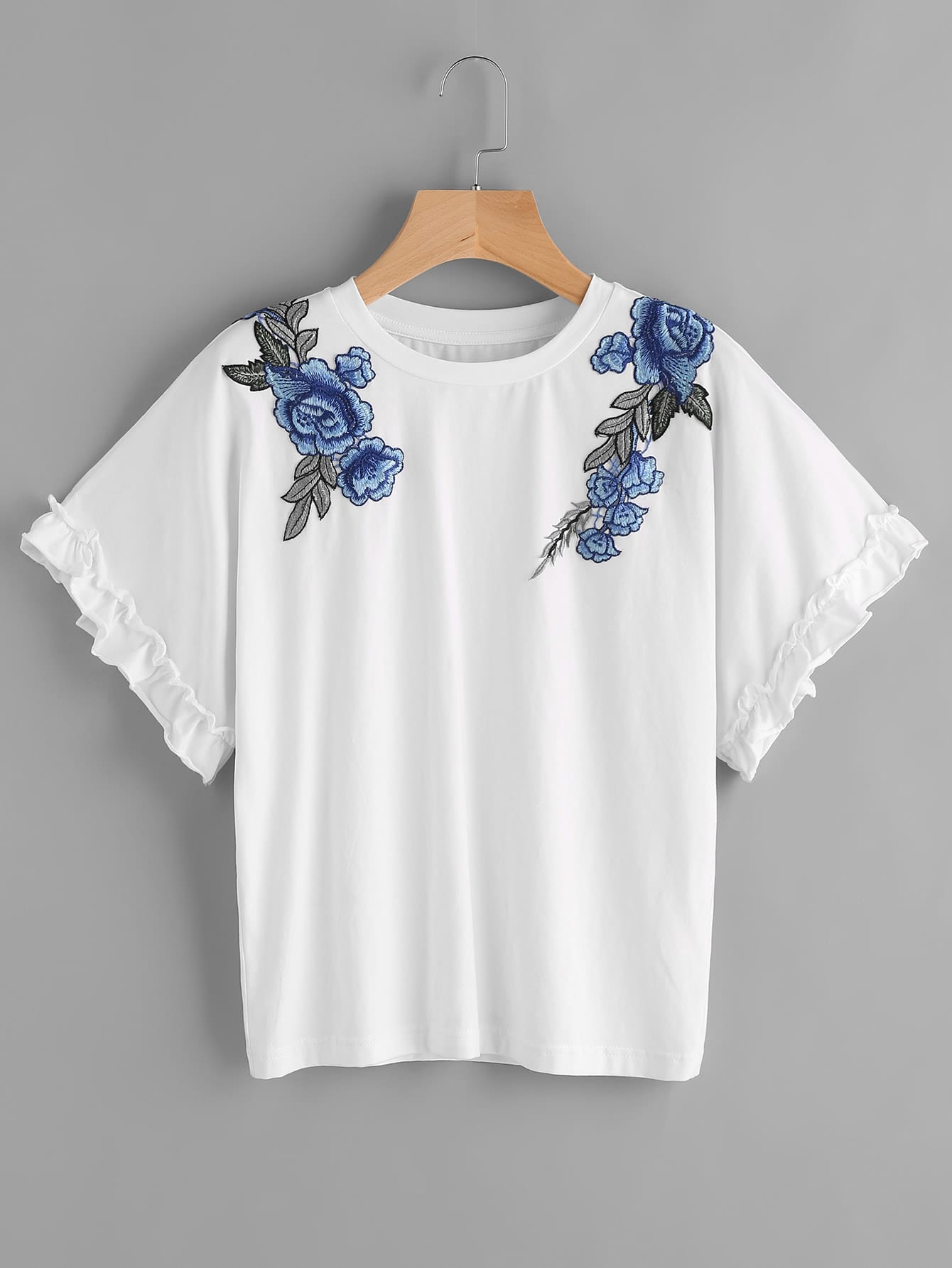 Фото Frill Sleeve Embroidered Flower Applique Tee. Купить с доставкой