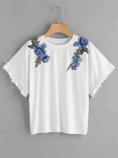 Frill Sleeve Embroidered Flower Applique Tee