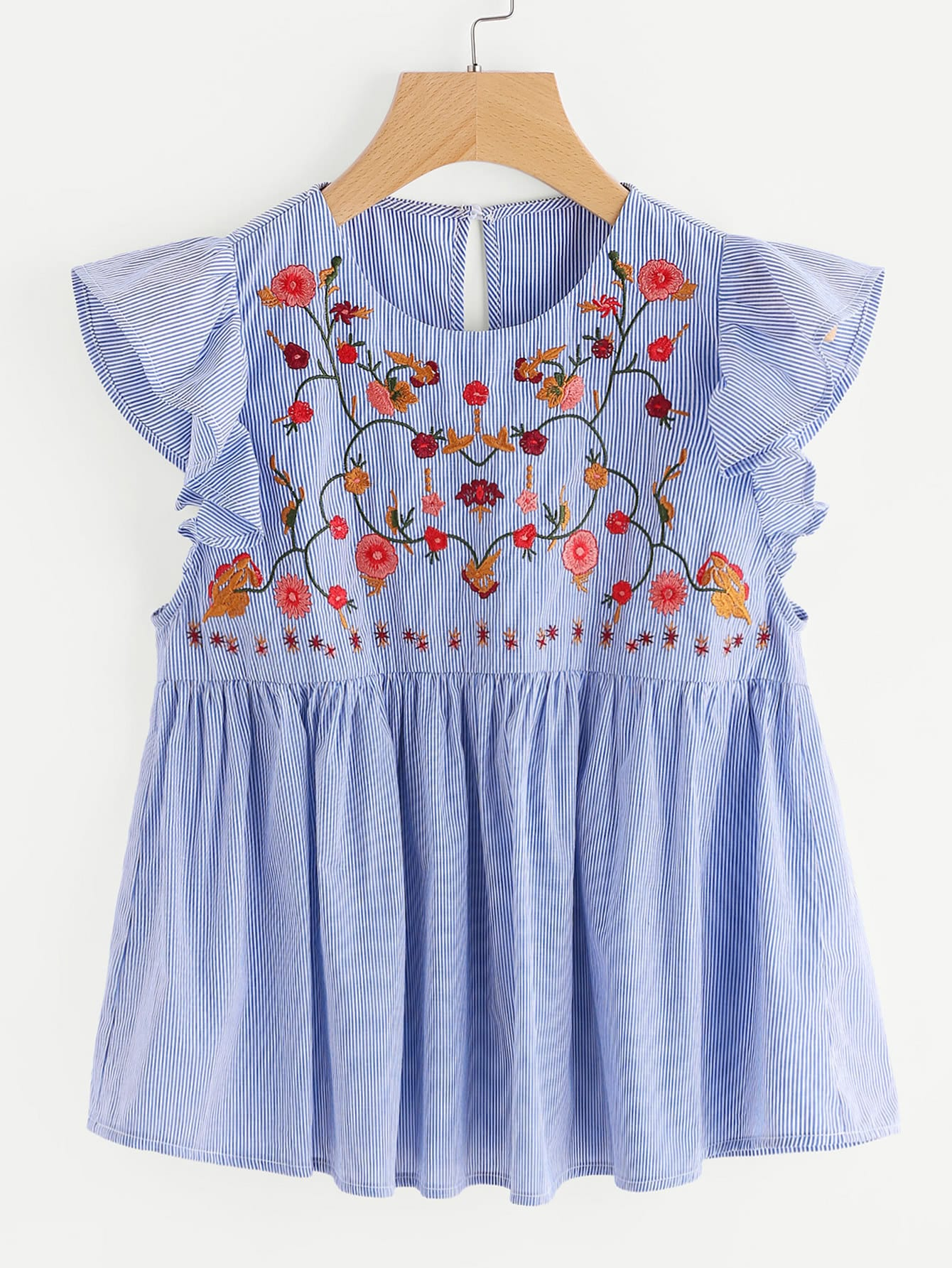 Embroidered Yoke Frill Sleeve Striped Babydoll Top