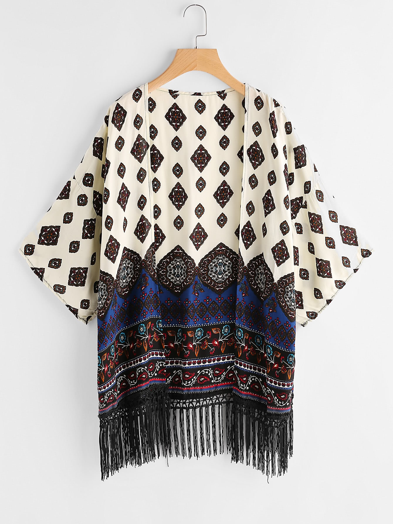 Фото Aztec Print Drop Shoulder Fringe Hem Kimono. Купить с доставкой