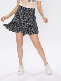 Self Tie Leaf Print Swing Skirt