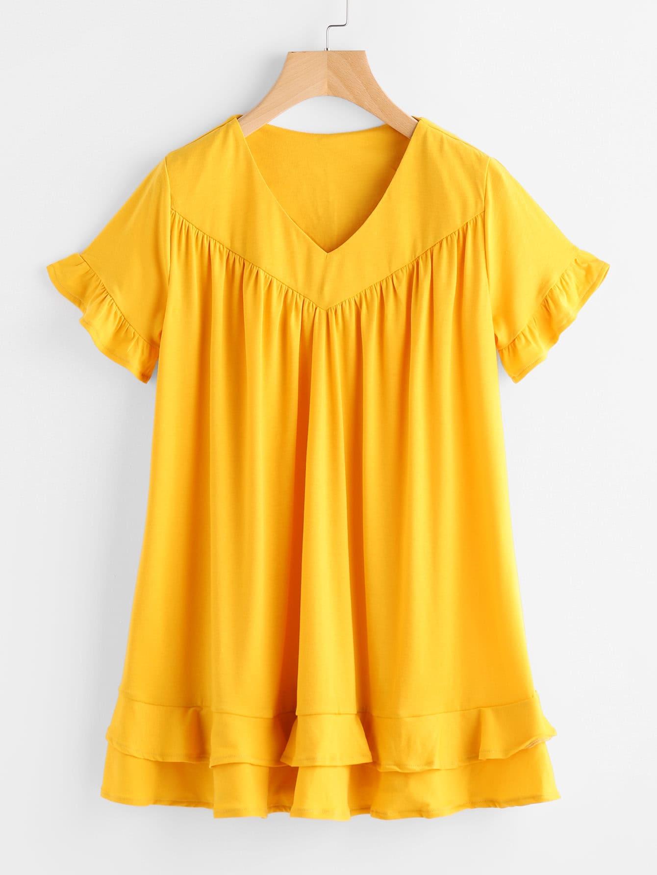 Купить Модное платье с оборкой и V-образным вырезом, null, SheIn