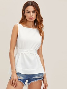 Sleeveless Top With Wide Belt