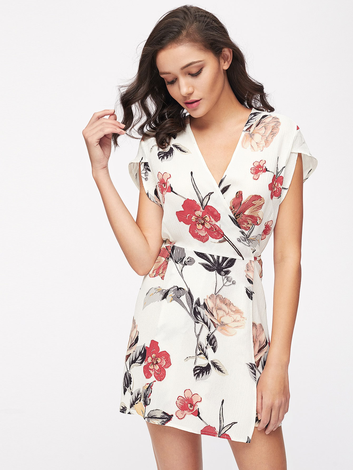Random Florals Petal Sleeve Wrap Dress цены