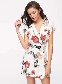 Random Florals Petal Sleeve Wrap Dress