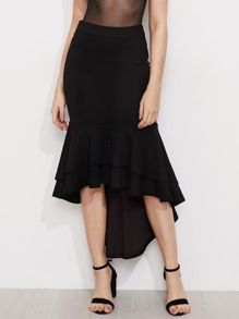 Layered Flounce Trim Hi Lo Fishtail Skirt