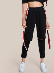 Striped Hem Track Open Knee Pants