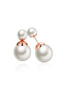 Faux Pearl Design Double Stud Earrings