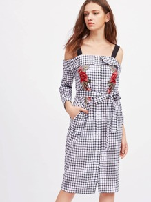 Foldover Cold Shoulder Symmetric Flower Patch Checkered Shirt Dress