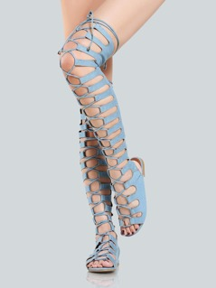 Denim Lace Up Gladiator Sandals DENIM