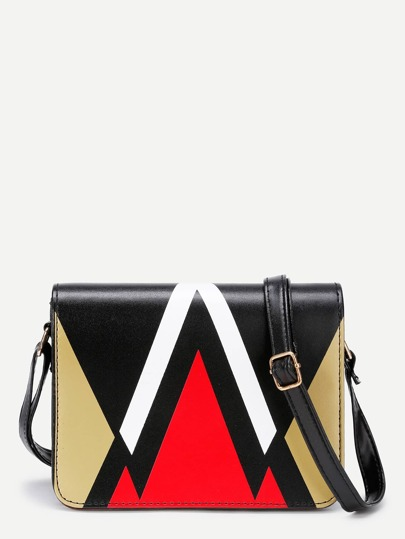 Chevron Design PU Crossbody Bag