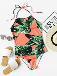 Palm Leaf Print Halter Neck Bodysuit
