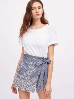 Self Tie Eyelet Embroidered Gingham Wrap Skort