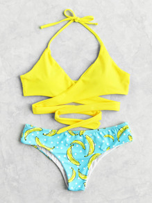 Banana And Polka Dot Print Self Tie Bikini Set