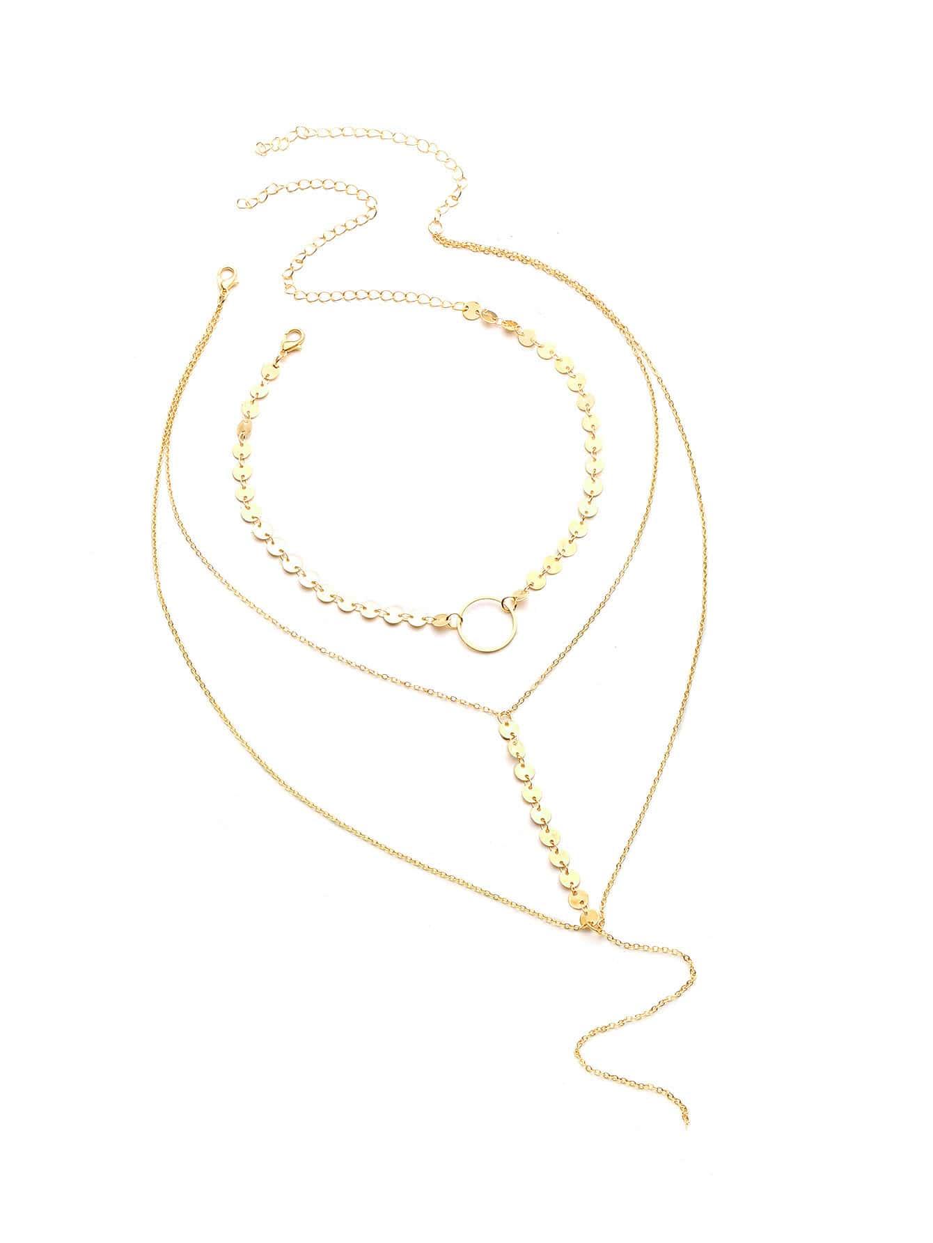 Фото Sequin Decorated Layered Y Necklace With Choker. Купить с доставкой