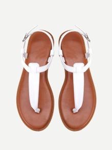 PU T-strap Flat Sandals