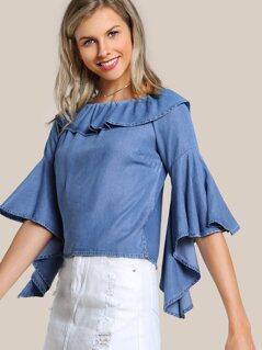 Off Shoulder Flounce Trumpet Sleeve Shirt DENIM