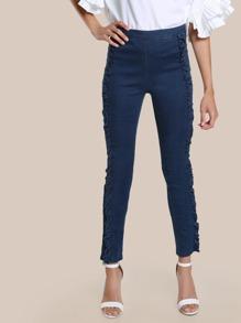 Ruffle Detailing Skinny Jeans DENIM