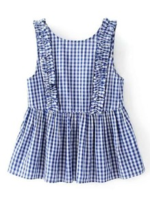 Frill Trim Gingham Sleeveless Top