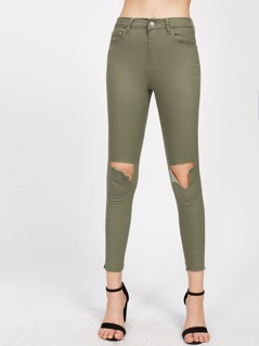 Open Knee Raw Hem Olive Jeans