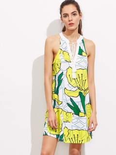 Abstract Print Tassel Tie Neck Cutout Dress