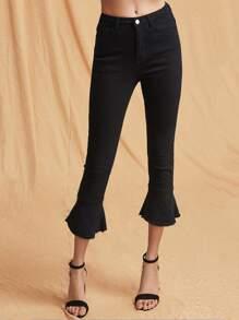 Raw Hem Cropped Flared Jeans