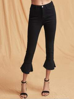 Raw Hem Cropped Flared Jeans