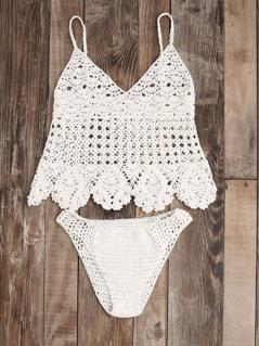 Scalloped Hem Hollow Out Crochet Tankini Set