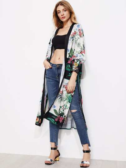 High Split Side Longline Kimono With Self Tie