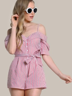 Foldover Cold Shoulder Half Placket Striped Romper