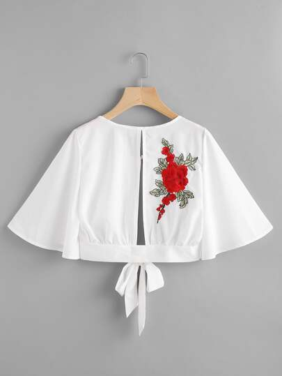 Rose Applique Split Self Tie Back Top