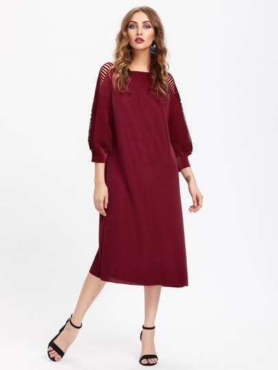 Ladder Ripped Raglan Sleeve Textured Dress
