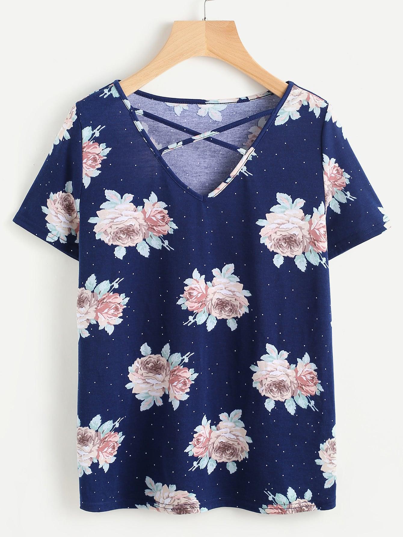 Фото Rose Cluster Print Crisscross V Neck T-shirt. Купить с доставкой