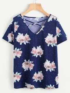 Rose Cluster Print Crisscross V Neck T-shirt