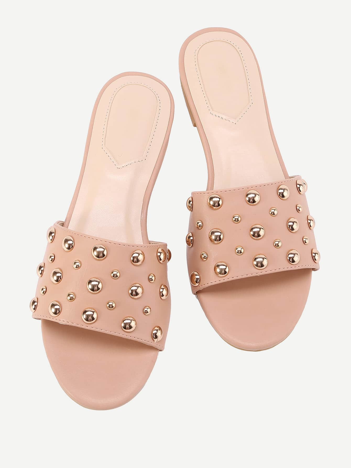 Image of Beaded Detail Flat Sandals