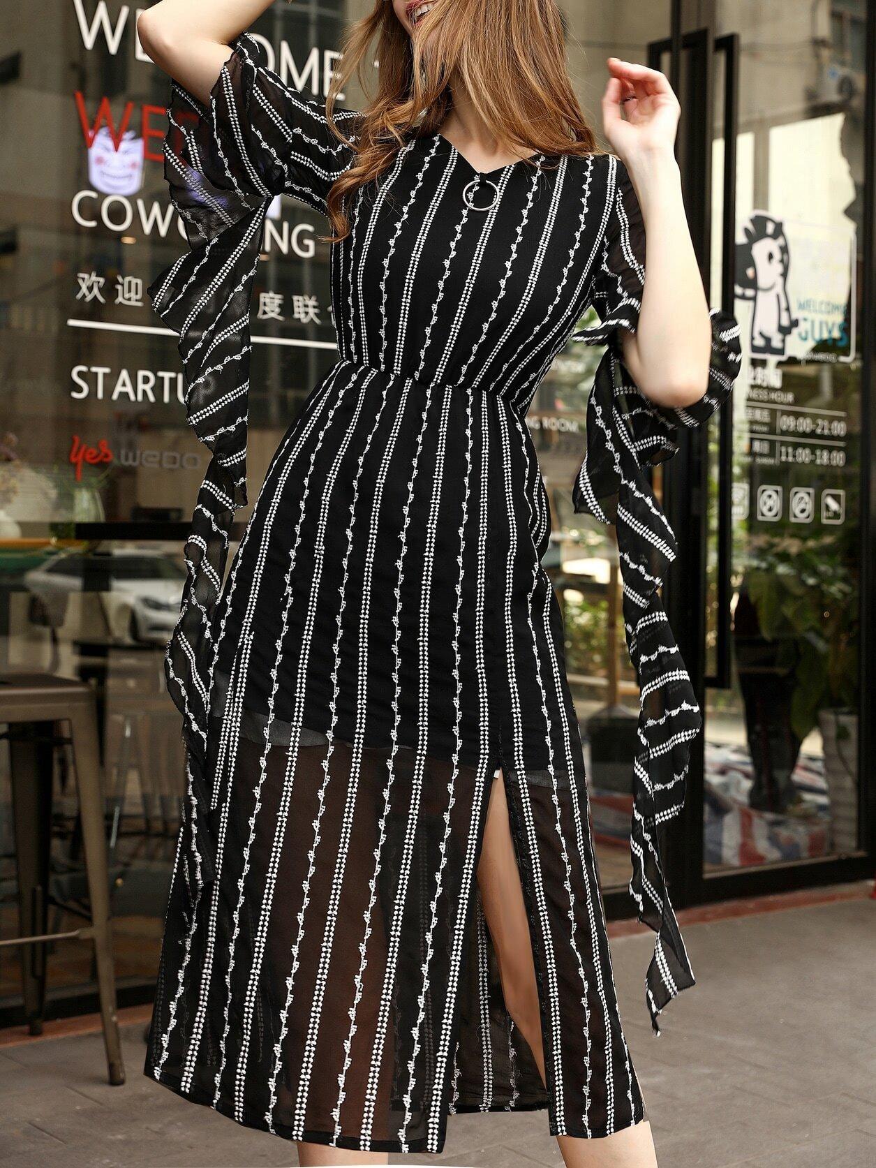 Фото V Neck Ruffle Sleeve Embroidered Split Dress. Купить с доставкой
