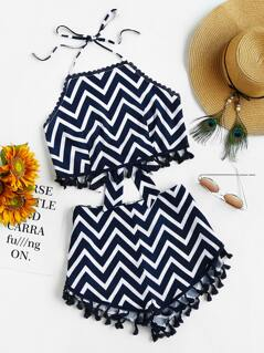 Tassel Trim Tie Back Chevron Halter Top And Shorts Set