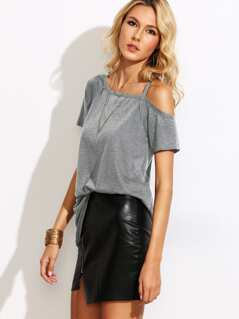 Asymmetric Cold Shoulder Heathered T-shirt