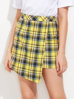 Checkered Overlap Skirt