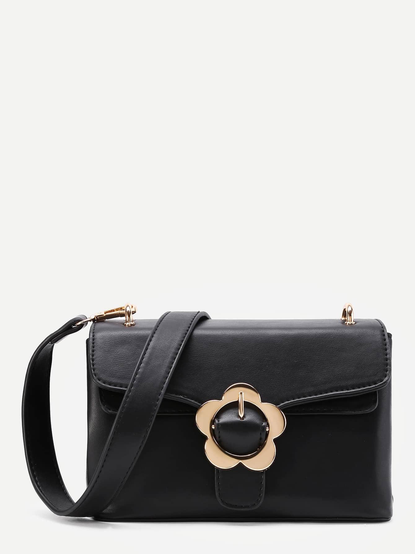 Фото Flower Buckle PU Bag With Convertible Strap. Купить с доставкой