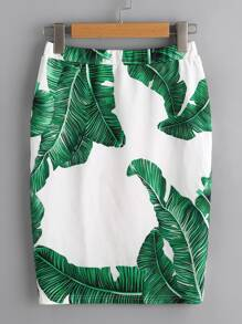 Palm Leaf Print Elastic Waist Skirt