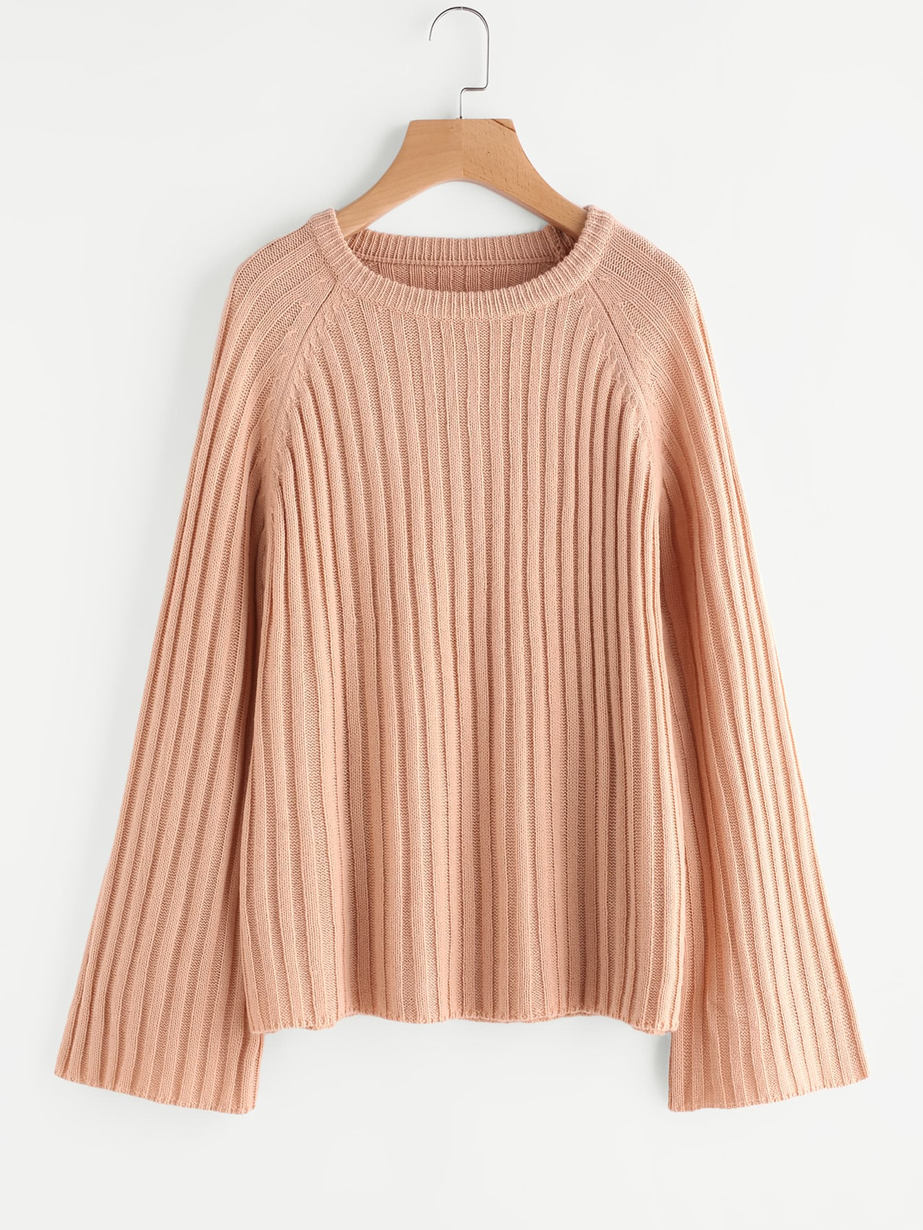 Rib Knit Fluted Sleeve Jumper sweater170629478