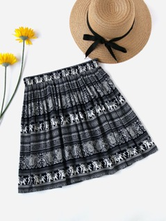 Elastic Waist Mixed Print Circle Skirt