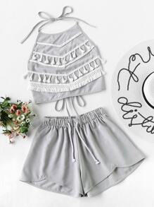Contrast Tassel Trim Halter Top With Shorts