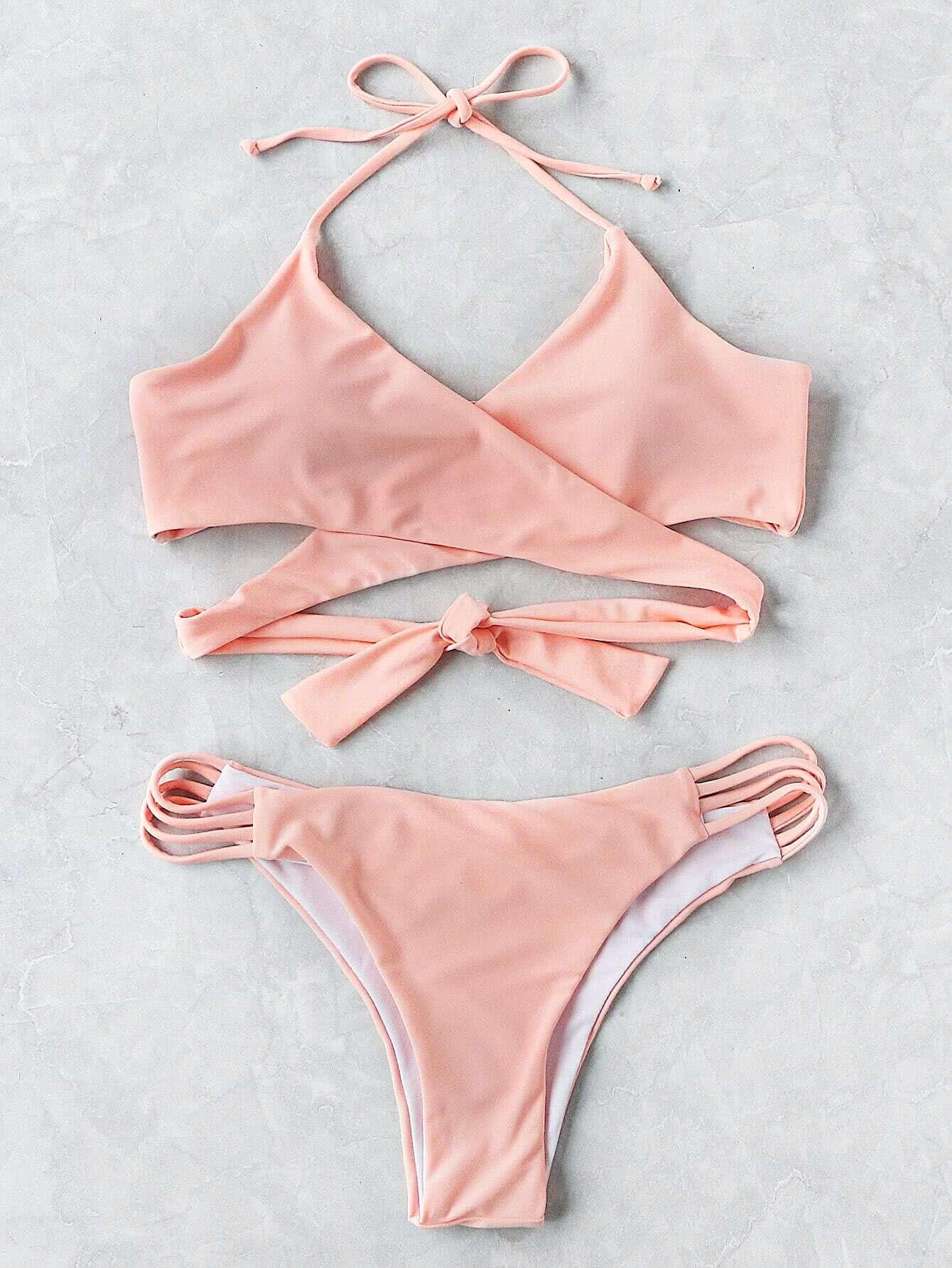 Ladder Cutout Wrap Bikini Set swimwear170608311