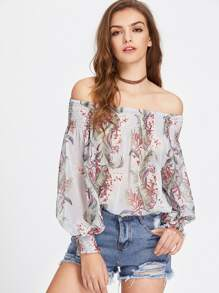Smocked Neck And Cuff Tropical Bardot Top