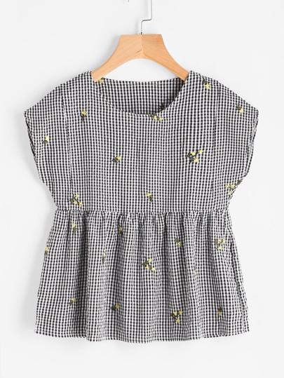 Embroidered Gingham Smock Top